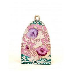 Japanese Nippon Pink Moriage Wall Pocket Vase #2394087