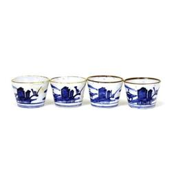 4 19C Japanese Blue & White Imari Soba Choko #2394095