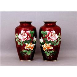 2 Old Japanese Pigeon Blood Cloisonne Vase w #2394096