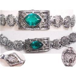 DECO Rhodium jeweled PEACOCK Bracelet #2394107