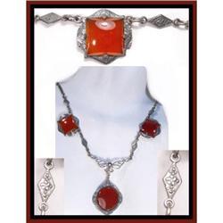 Vintage CARNELIAN etched DROP deco necklace #2394108