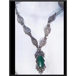 GORGEOUS DECO Chrysoprase sterling necklace #2394109
