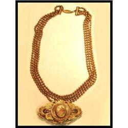 ANtique heavy BRass PORTRAIT Necklace 4 strand #2394110