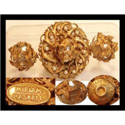 3 SIGNED Miriam Haskell baroque brooch Earrings#2394111