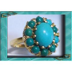 Vintage 14KT GOLD persian Turquoise ring #2394114