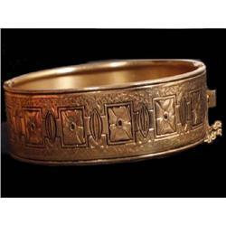 Victorian HINGEd Enamel Gold Vintage bracelet #2394115