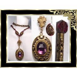 Deco ENAMEL Purple Czech  LOCKET necklace #2394116