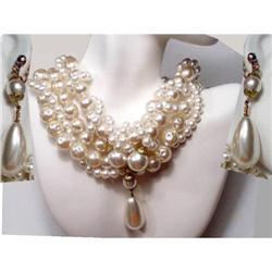 NY Designer RUNWAY Glam WIDE Necklace ER #2394117