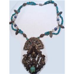 Bizarre HUGE BIRD Primitive turquoise necklace #2394120