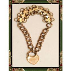 Vintage Victorian Padlock gate bracelet FANCY! #2394121