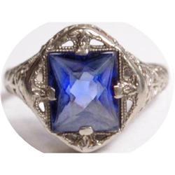 TREMENDOUS 10kt gold BLUE stone DECO Ring #2394125