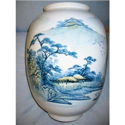 Figural Handpaint Japanese Blue and White Jar! #2394142