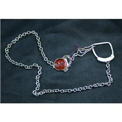 Estate Silver Carnelian Watch Fob Necklace #2394144