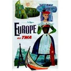 Original TWA Europe Poster by Klein #2394211