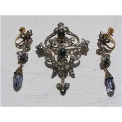 RUSSIAN FABERGE DIAMONDS SET BROOCH&EARRINGS #2394217