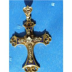 RUSSIAN FABERGE GOLD&ENAMEL CROSS  #2394219