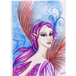 Original Art Painting Fantasy Fairy Watercolor #2384940