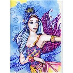 Original Art  Painting Fantasy Fairy Watercolor#2384941