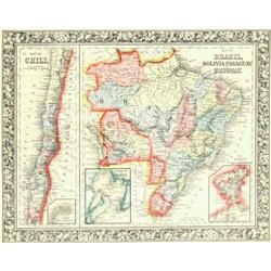 Map of Brazil, Bolivia, Paraguay, and Uruguay #2384957
