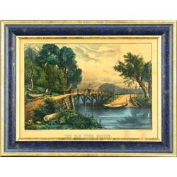 Currier and Ives The Old Ford Bridge lithograph#2384962