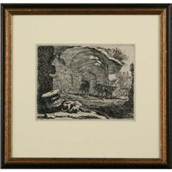 Etching  ?Dogs in the Alley?. Signed painting #2384964