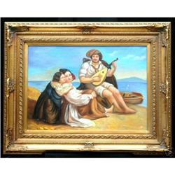 OIL ON BOARD:A WONDERFUL ROMANTIC SEASIDE SCENE#2384965