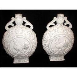 French Rooster Vases Ceramic C.1930 #2384968