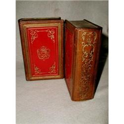 Italian Bookends Leather Chalk Gilt Early 1900 #2384970
