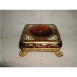 Brass Glass Base Hand Painted Enameled Footed #2384971