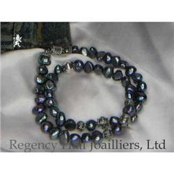 RHJ Blue Black Raven Wing Genuine Pearl Neck #2384982