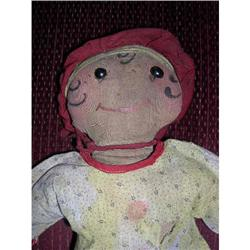 Early cloth doll with shoe button eyes #2385056