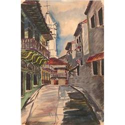 ORIG WATERCOLOR PANAMA STREETSCAPE #2385457