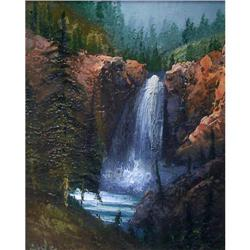 ORIG OIL PAINTING WATERFALL NATURESCAPE #2385458