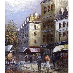 ORIG OIL PAINTING OF PARIS STREET SCENE #2385459