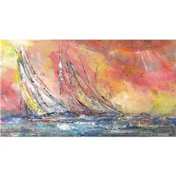 ORIG PAINTING ABSTRACT EXPRESSIONIST SHIPS #2385462