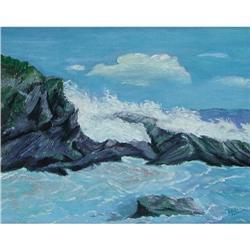 ORIG PAINTING OF SEASCAPE ROCKY COAST #2385464