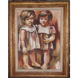 ORIG OIL PAINTING OF TWO BABY SISTERS #2385465