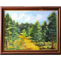 ORIG OIL PAINTING FOREST LANDSCAPE W/MOUNTAINS #2385469