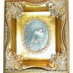 Small Framed Oil Painting Of A Bird  #2385482