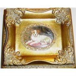 Small Framed Oil Painting Of A Dog Lying Down #2385483