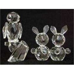 Lead Crystal Models of Two Rabbits and an Owl #2385574