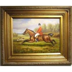 Oil Painting Huntsman With Hounds  #2385610