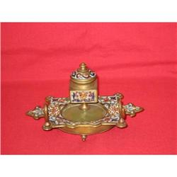 French Bronze Champleve Inkwell #2385638