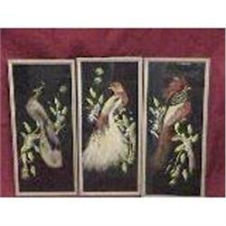 Set of 3 Antique Feather picture of Birds #2385643