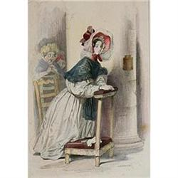 "Color Lithograph ""Le Dimanche"" by Gavarni #2385655"