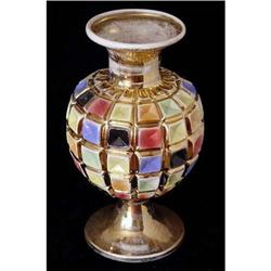 Large Multicolor Vase with Mosaic Design  #2385657