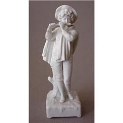 Biscuit Porcelain Figurine of a Boy Flutist #2385658