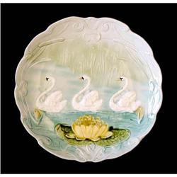 Art Nouveau Majolica Plate with Swans #2385663