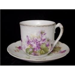 Limoges Violets Cup and Saucer  #2385664