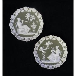 Pair of Musical Theme Jasperware Plaques #2385669